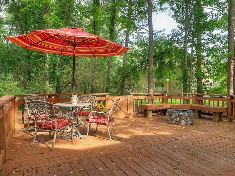 Back Yard. Very private backyard.  Huge deck and firepit.  Excellent place for entertaining or just plain relaxing.