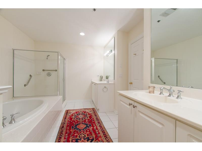 MASTER BATH HAS A GARDEN TUB, SEPARATE SHOWER AND DOUBLE VANITIES.
