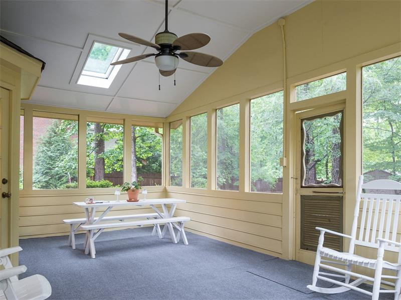 Large screened porch overlooks the private backyard.  2 skylights allow plenty of light even on gloomy days.