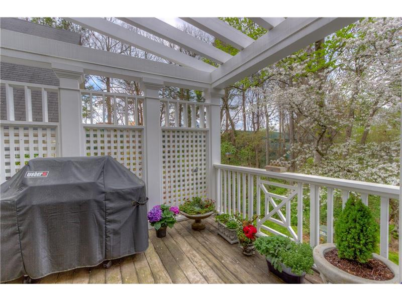 Grill deck off of screened porch with trellis, arbor, fan and water faucet.
