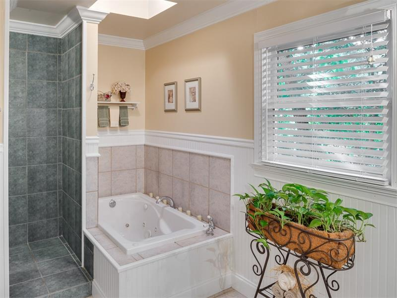 Updated master bath with separate tub and shower