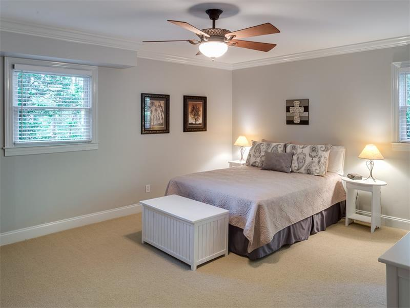 Large lower bedroom with private bath is perfect for guests